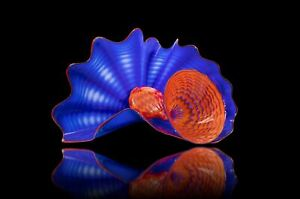 Dale Chihuly Signed Lapis Persian Pair  Handblown Contemporary Glass Sculpture