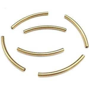 20pcs Gold Tone Stainless Steel Long Noodle Tube Beads Tubes DIY Findings 40mm