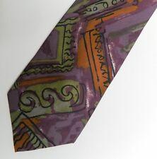Vintage Purple Orange Abstract Silk Tie