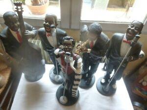 Statues orchestre 5 musiciens et chanteurs noirs de Jazz - Vintage 49 cm