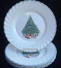 NOEL SALEM PORCELLE X-MAS CHRISTMAS TREE DINNER PLATES **SET 6**  EXCELLENT