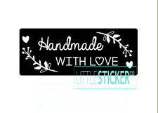 Black Gloss Handmade with Love  stickers envelope seals  labels x 25