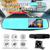 "4.3"" Car DVR Dual Lens Camera HD 1080P Rear View Mirror Video Dash Cam Recorder"