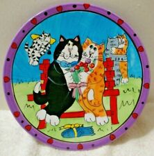 "Catzilla Collectable 8"" Plate 2002 Candace Reiter Cat Couple W/ Cupid Cat & Fish"