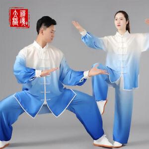 Gradient Martial Arts Uniform Chinese Kung Fu Tai Chi Suit Chiffon Mens Womens