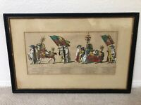 🔥 Antique 18th Dutch Old Master Etching Painting, Horse & Military, Van Cuyck