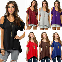 Womens Summer Cold Shoulder Tunic Tops Casual T Shirt Plus Size Blouse Shirts