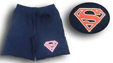 Men's Superman Shield Blue Cut Off Sweat Pants Shorts Size L 100% Cotton