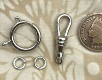 1 set vtg pocket watch chain end clasp Spring Ring Swivel clip Silver Repair