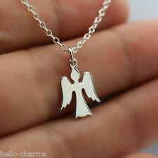 ANGEL CHARM NECKLACE - 925 Sterling Silver Guardian Angel Faith Jewelry Memorial