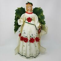 Vintage Herald Horn Poinsettia Green Winged Nature Angel Tree Topper