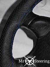 FOR NISSAN SILVIA S12 PERFORATED LEATHER STEERING WHEEL COVER BLUE DOUBLE STITCH