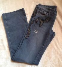 SEVEN 7 FOR ALL MANKIND Flynt Gray & Embroidered Bootcut Stretch Jeans Size 26