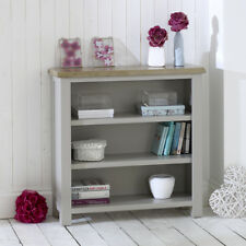 Chester Grey Painted Low Bookcase - Small Wide Display Shelf Oak Top - GS24