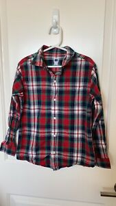 Janie and Jack Christmas plaid holiday red green blue button up shirt size 7 EUC