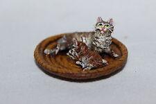 Original bronce de Viena, 2 gatos subyacente en la cesta