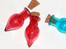 1 Glass Tear potion Bottle vial Halloween cork pendant necklace charm Blood Red