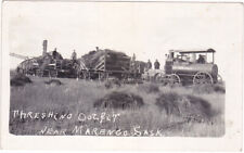rppc THRESHING OUTFIT MARENGO SASKATCHEWAN steam tractor wheat water wagons