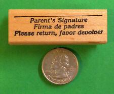 Firma de Padres/Parent Signature, bilingual teacher's wood mounted rubber stamp