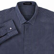 Kris Van Assche KVA Navy Gray Plaid Hidden Placket Point Collar Slim Shirt 54 XL
