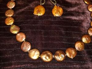925 Sterling & LUC Coin Pearls Fresh Water Necklace & Earrings Set Copper Color