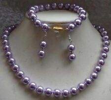 8MM lavender south sea Shell Pearl necklace18'' Bracelet 7.5''Earring SET JN404