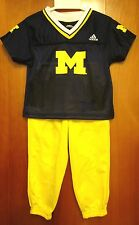 UNIVERSITY MICHIGAN kids 4T football outfit 2-piece Wolverines polyester Adidas