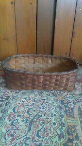 """Antique Early Primitive Handmade Wood Woven Folky Basket Old Black Paint 13.5"""""""
