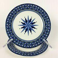 "VICTORIA & BEALE Williamsburg 9026 Salad Plate 7 3/4"" Blue Starburst Lot of 2"