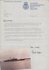 HMS Manchester. Comm David B R Hughes. 1982 Letter & Photograph 1984  LL.20
