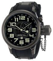 New Mens Invicta 5861 Quinotaur Russian Diver Black Rubber Strap Watch