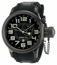 New Mens Invicta 5861 Quinotaur Russian Diver Black Rubber Strap Watch