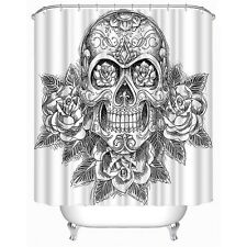 Shower Curtain Sketch Style Skull with Roses Bathroom Decor