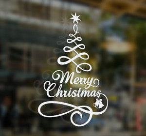 MERRY CHRISTMAS TREE WINDOW WALL STICKER, Merry Christmas shop window decor sign