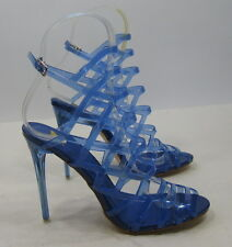 "new Blue 4.5""Stiletto High Heel Peep Toe Womens Stunning Sandal  shoes Size 7"