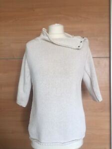 Nicole Farhi Cotton Chunky Knit Button Neck Jumper Small