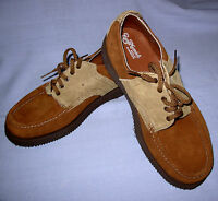 Russell Moccasin Co. Mens 7.5 EEE suede two-tone saddle oxford shoe tan rust US