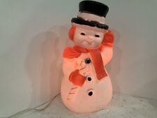 """Vintage Plastic Blow Mold Light Up 13"""" Snowman."""