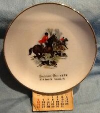 Fox Hunt Hunting Advertising Paper Calendar Plate Singleton's Shoes Lancaster PA