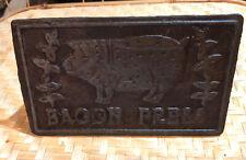 Vintage Cast Iron Bacon Press Wood Handle Seasoned Pig SHIPS FREE