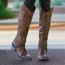 Fashion Women's Rivet Knee High Boots Block Heels Retro Zipper Shoes Size