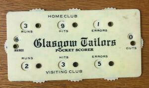"1910 ""Glasgow Tailors""  Baseball Celluloid Scorer"