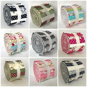 10 Jelly Roll Strips - 100% Cotton Fabric Choose Colours & Patterns 2.5 * 44inch