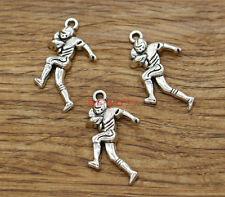 20pcs Football Player Charms Sports Team Charm Antique Silver Tone 16x30mm 1993