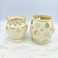 LENOX Porcelain Garden Lights Votive Candle Holders Crystals Gold Trim Set of 2