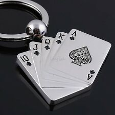 New Creative Silver Metal Key Chain Ring Gift Poker Keychain Keyfob Keyring Gift