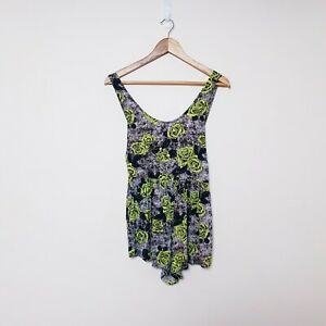 Rusty Womens Size 8 Grey Yellow Roses Floral Play Suit Romper One piece