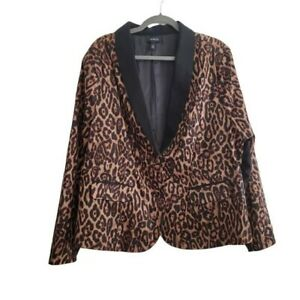 Torrid Women Size 3X Leopard Black 2-Button Blazer Jacket Career Plus