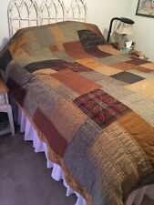 Pottery Barn Full Queen Size Patchwork Haberdashery Reversible Heavy Quilt