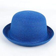 Women Kid Children Girl Bowler Derby Hats Bucket Cloche Caps Straw Sunhat Summer